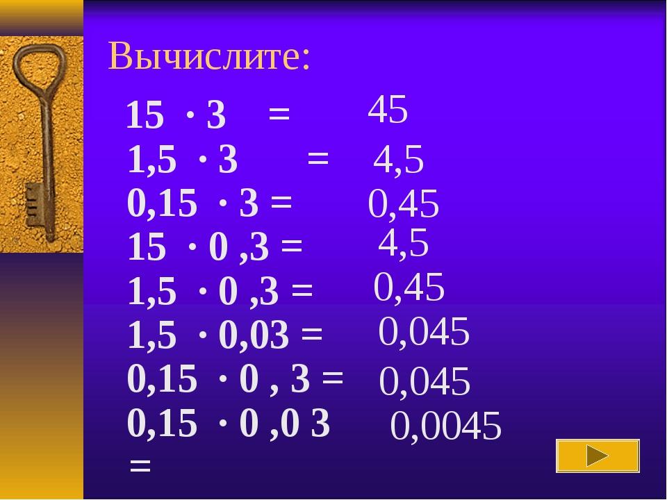 Вычислите: 45 4,5 0,45 4,5 0,45 0,045 0,045 0,0045 15 · 3 = 1,5 · 3 = 0,...