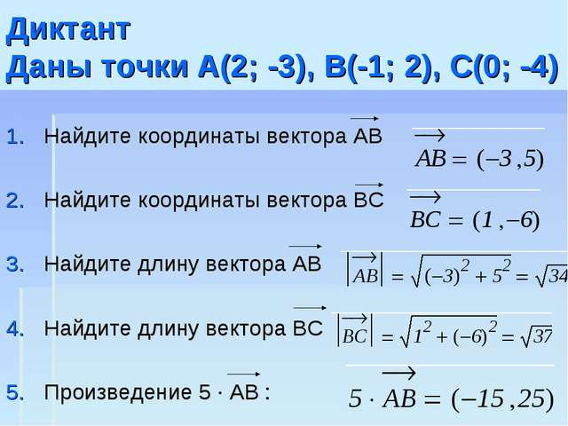 Диктант Даны точки A(2; -3), B(-1; 2), С(0; -4) Найдите координаты вектора AB...