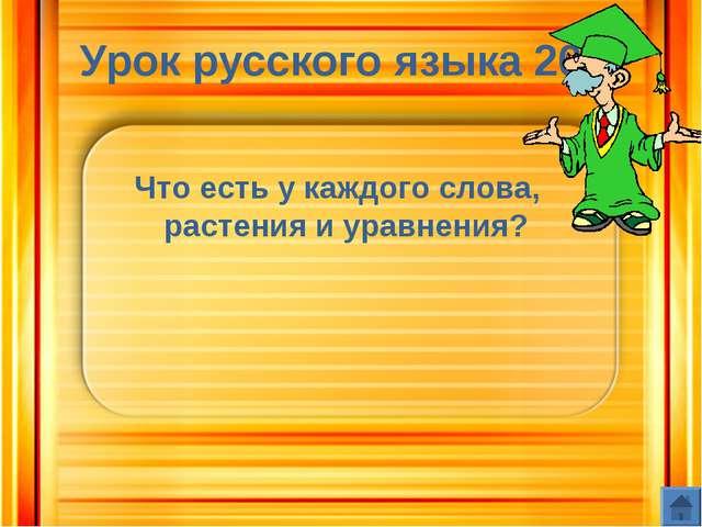 Урок русского языка 20 Что есть у каждого слова, растения и уравнения?