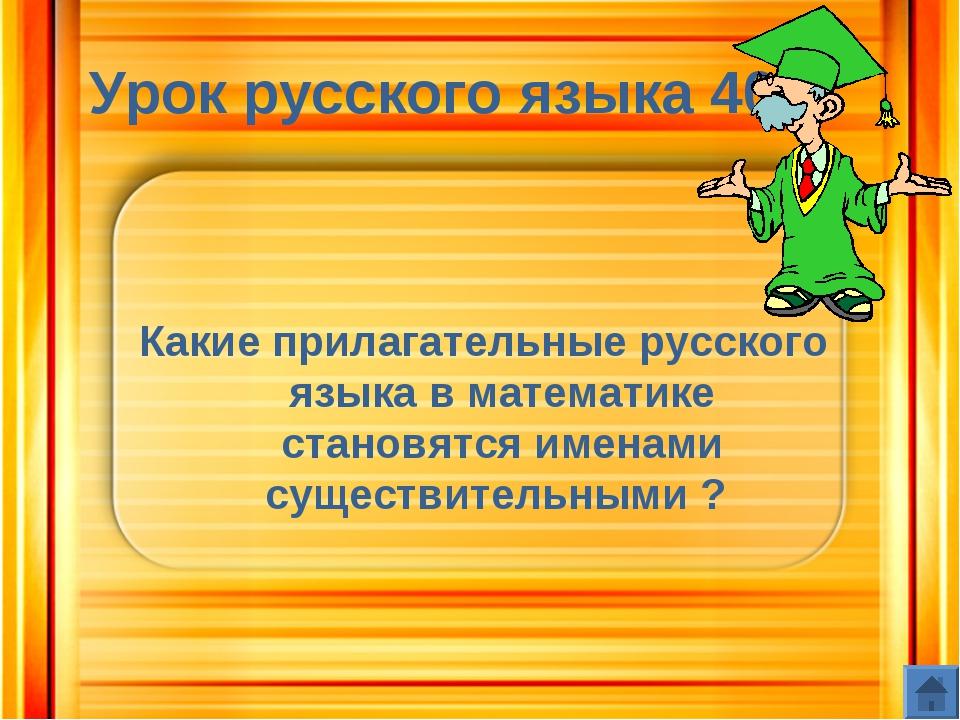 Урок русского языка 40 Какие прилагательные русского языка в математике стано...