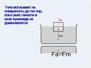 Тело всплывает на поверхность до тех пор, пока сила тяжести и сила Архимеда