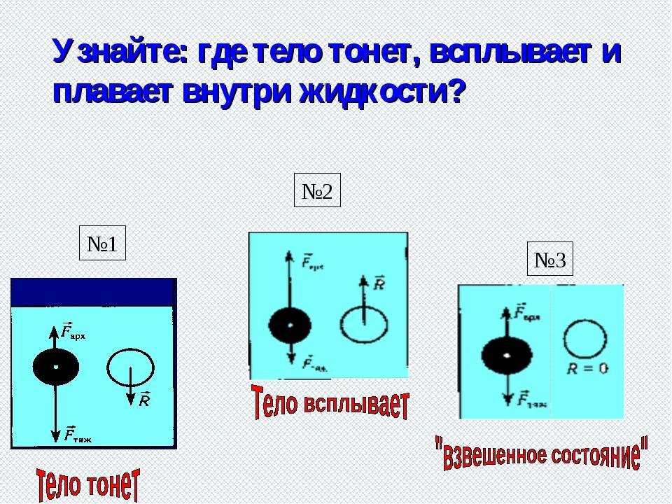 Узнайте: где тело тонет, всплывает и плавает внутри жидкости? №1 №2 №3