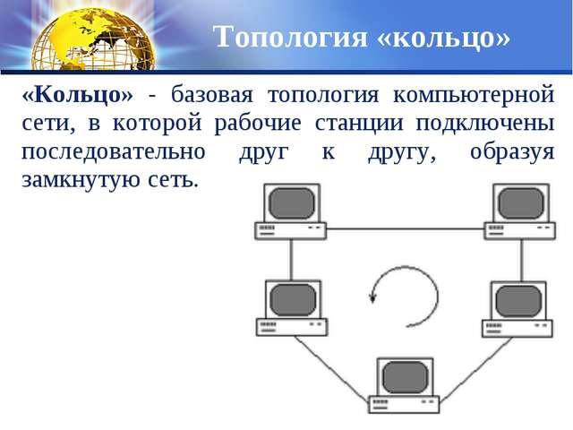 «Кольцо» - базовая топология компьютерной сети, в которой рабочие станции под...