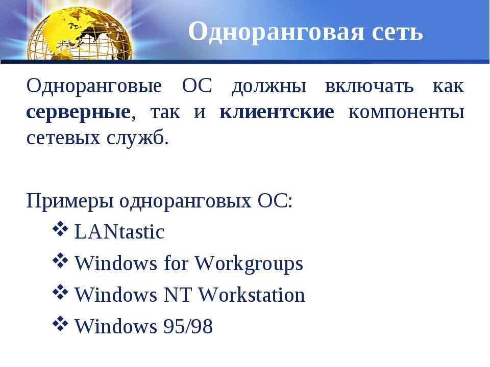 Одноранговая сеть Одноранговые ОС должны включать как серверные, так и клиент...