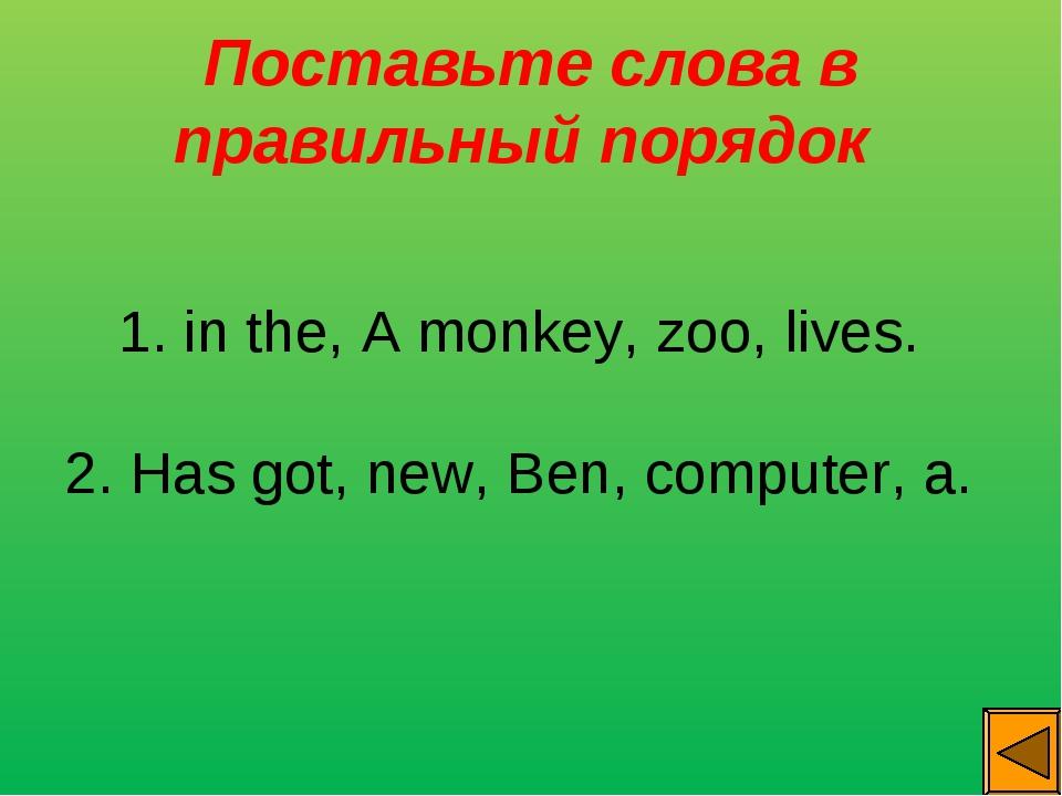 Поставьте слова в правильный порядок 1. in the, А monkey, zoo, lives. 2. Has...