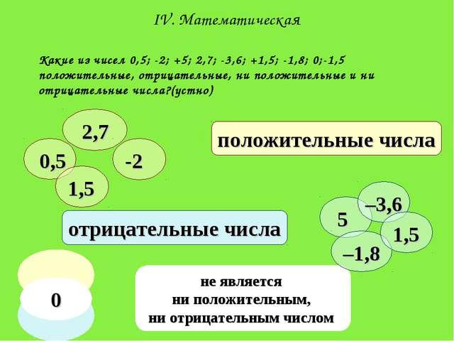 Какие из чисел 0,5; -2; +5; 2,7; -3,6; +1,5; -1,8; 0;-1,5 положительные, отри...