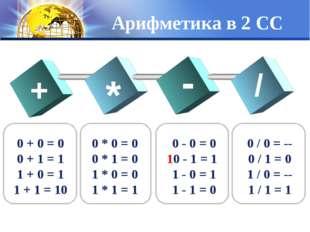 Арифметика в 2 СС + * - / 0 + 0 = 0 0 + 1 = 1 1 + 0 = 1 1 + 1 = 10 0 * 0 = 0