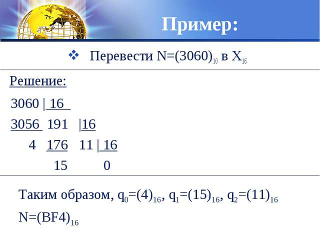 Пример: Перевести N=(3060)10 в X16 3060 | 16 3056 191 |16 4 176 11 | 16  15...