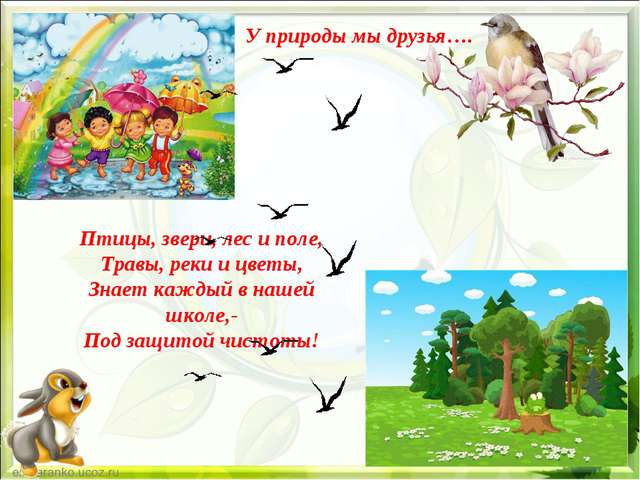 У природы мы друзья…. Птицы, звери, лес и поле, Травы, реки и цветы, Знает ка...