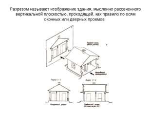 Разрезом называют изображение здания, мысленно рассеченного вертикальной плос