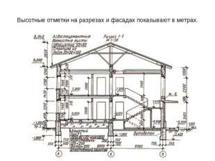 Высотные отметки на разрезах и фасадах показывают в метрах.