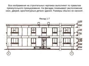 Все изображения на строительных чертежах выполняют по правилам прямоугольного