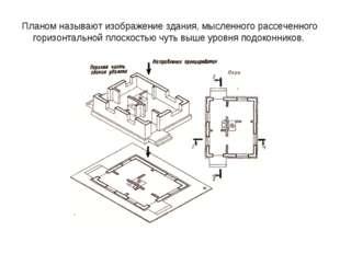 Планом называют изображение здания, мысленного рассеченного горизонтальной пл