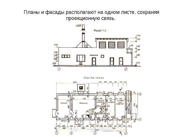 Планы и фасады располагают на одном листе, сохраняя проекционную связь.