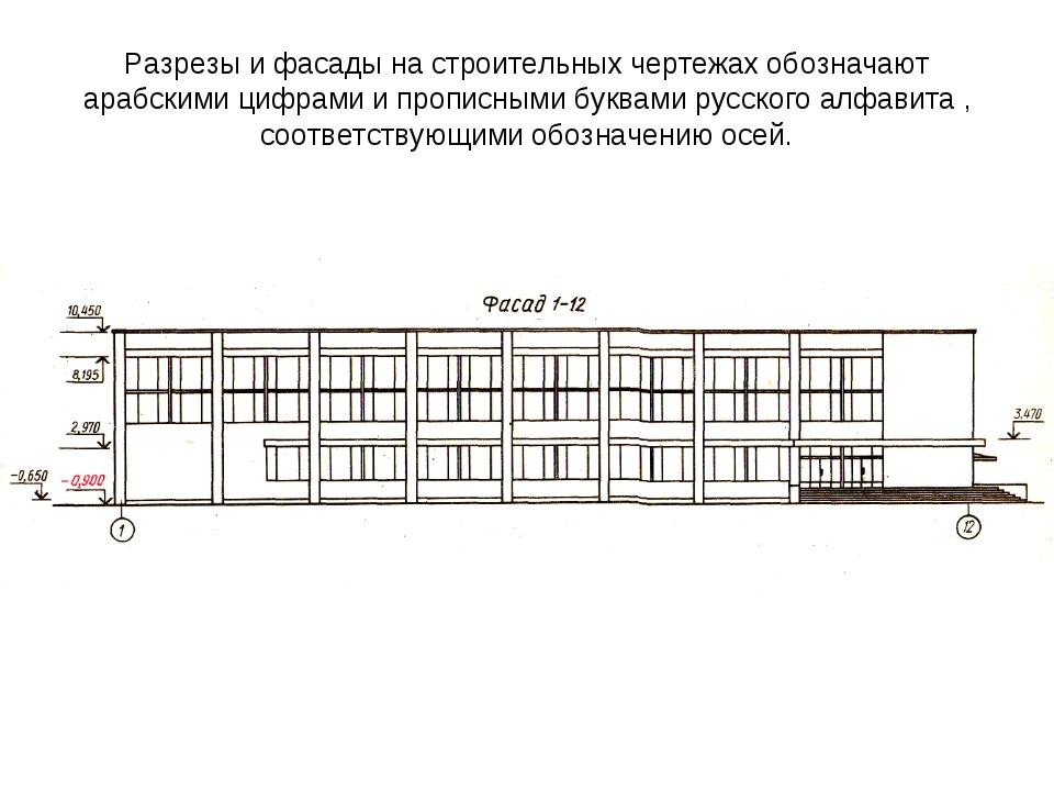 Разрезы и фасады на строительных чертежах обозначают арабскими цифрами и проп...