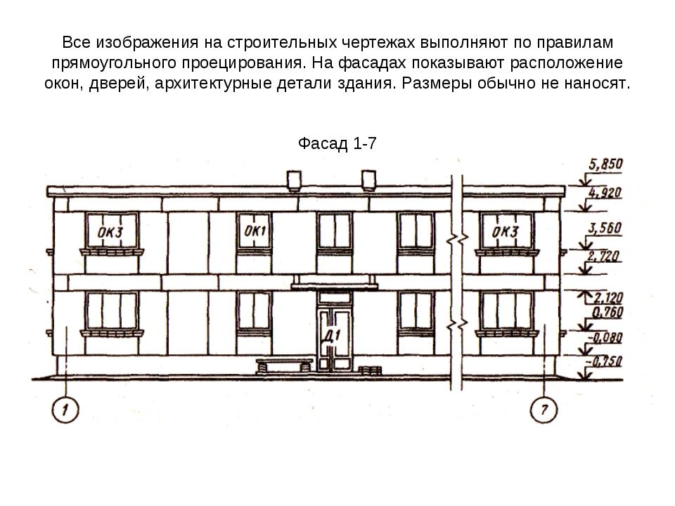 Все изображения на строительных чертежах выполняют по правилам прямоугольного...