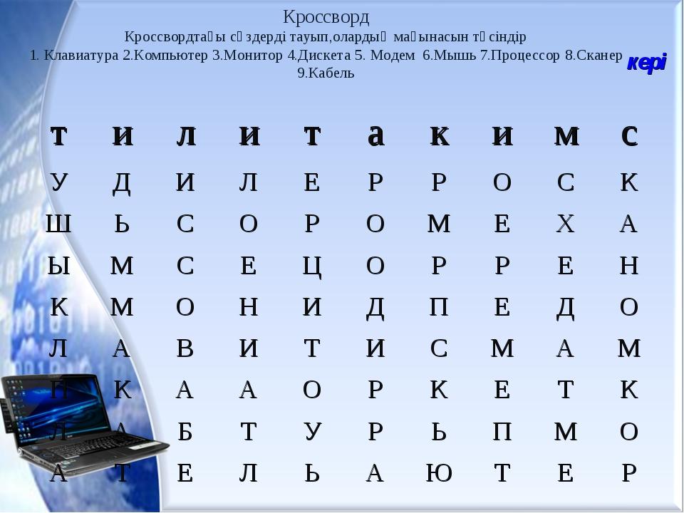 Кроссворд Кроссвордтағы сөздерді тауып,олардың мағынасын түсіндір 1. Клавиату...
