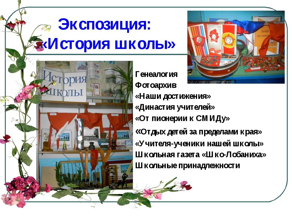 Экспозиция: «История школы» Генеалогия Фотоархив «Наши достижения» «Династия...