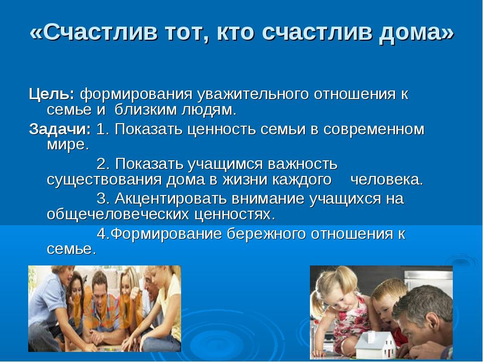«Счастлив тот, кто счастлив дома» Цель: формирования уважительного отношения...