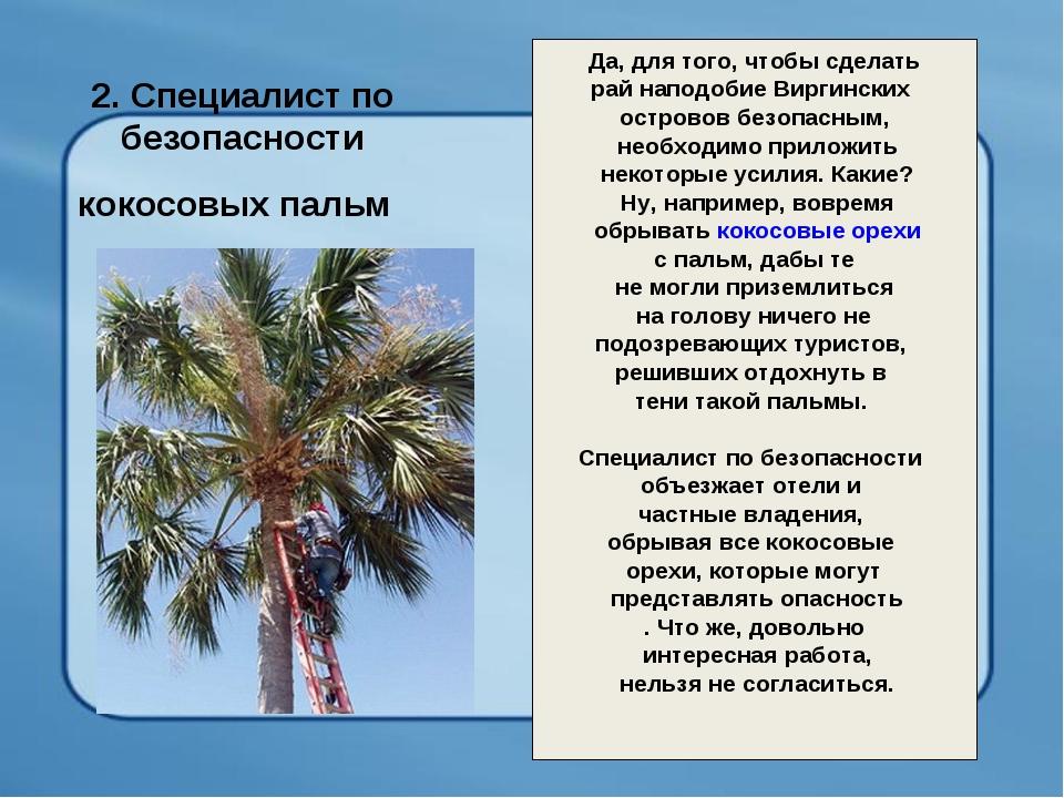 2. Специалист по безопасности кокосовых пальм Да, для того, чтобы сделать ра...