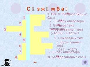 8. Бағдарламаның соңы 1. Негізгі бағдарламаның басы 2. Шығару операторы 3. Б