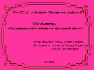 МУ «СОШ пос.Новый» Тукаевского района РТ Фотоконкурс «Остановившиеся мгновени
