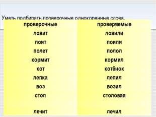 Уметь подбирать проверочные однокоренные слова. проверочныепроверяемые лови