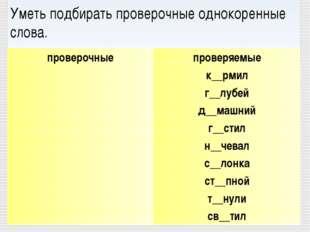 Уметь подбирать проверочные однокоренные слова. проверочныепроверяемые к__
