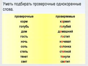 Уметь подбирать проверочные однокоренные слова. проверяемые кормил голубей д