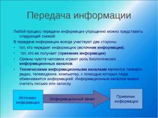 Передача информации Любой процесс передачи информации упрощенно можно предста