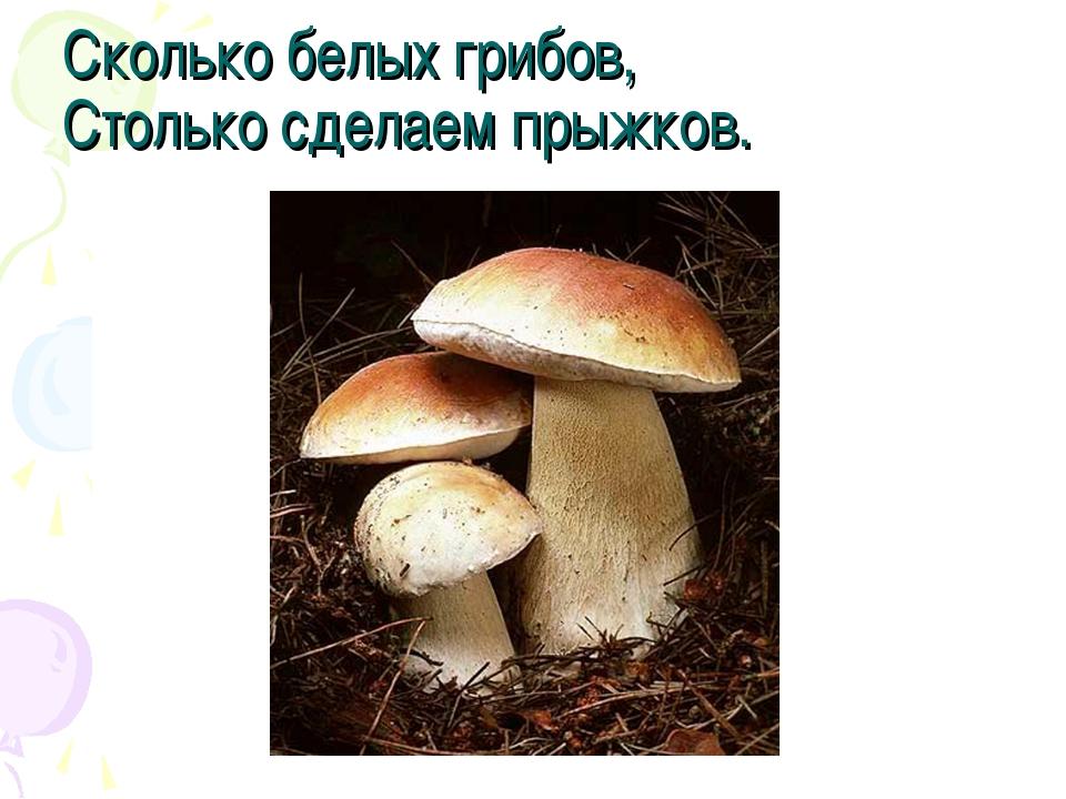 Сколько белых грибов, Столько сделаем прыжков.