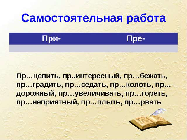 Самостоятельная работа Пр…цепить, пр..интересный, пр…бежать, пр…градить, пр…с...