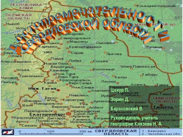 Цокур П. Зорин Д. Барановский В. Руководитель учитель географии Князева Н. А.