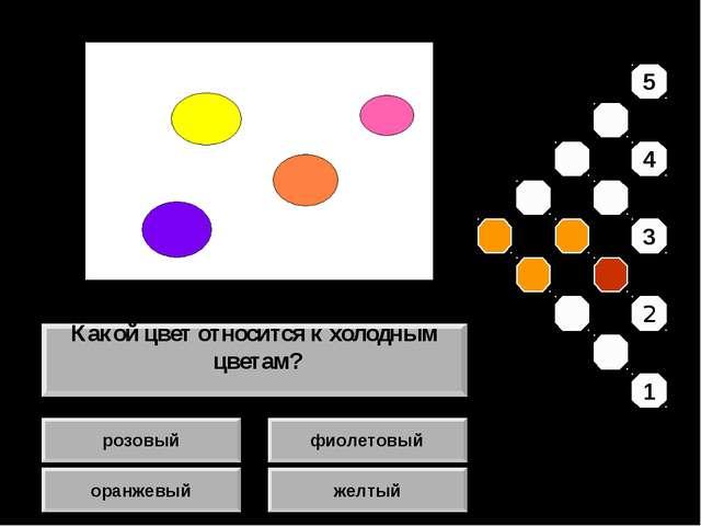 розовый оранжевый фиолетовый желтый Какой цвет относится к холодным цветам? 5...