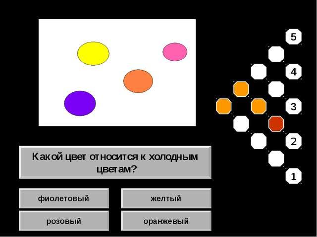 фиолетовый розовый желтый оранжевый Какой цвет относится к холодным цветам? 5...