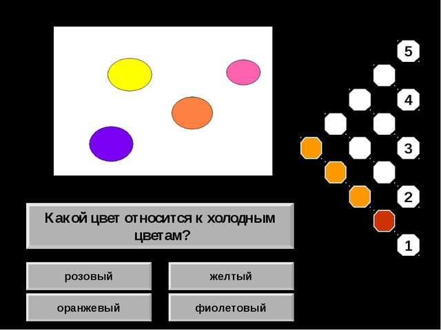 розовый оранжевый желтый фиолетовый Какой цвет относится к холодным цветам? 5...