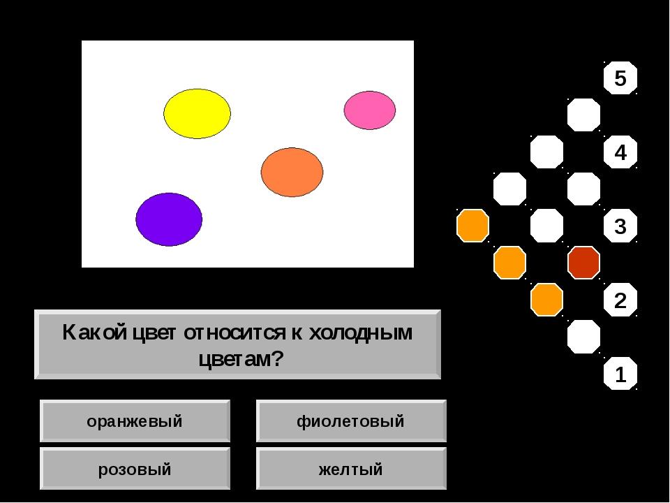 оранжевый розовый фиолетовый желтый Какой цвет относится к холодным цветам? 5...