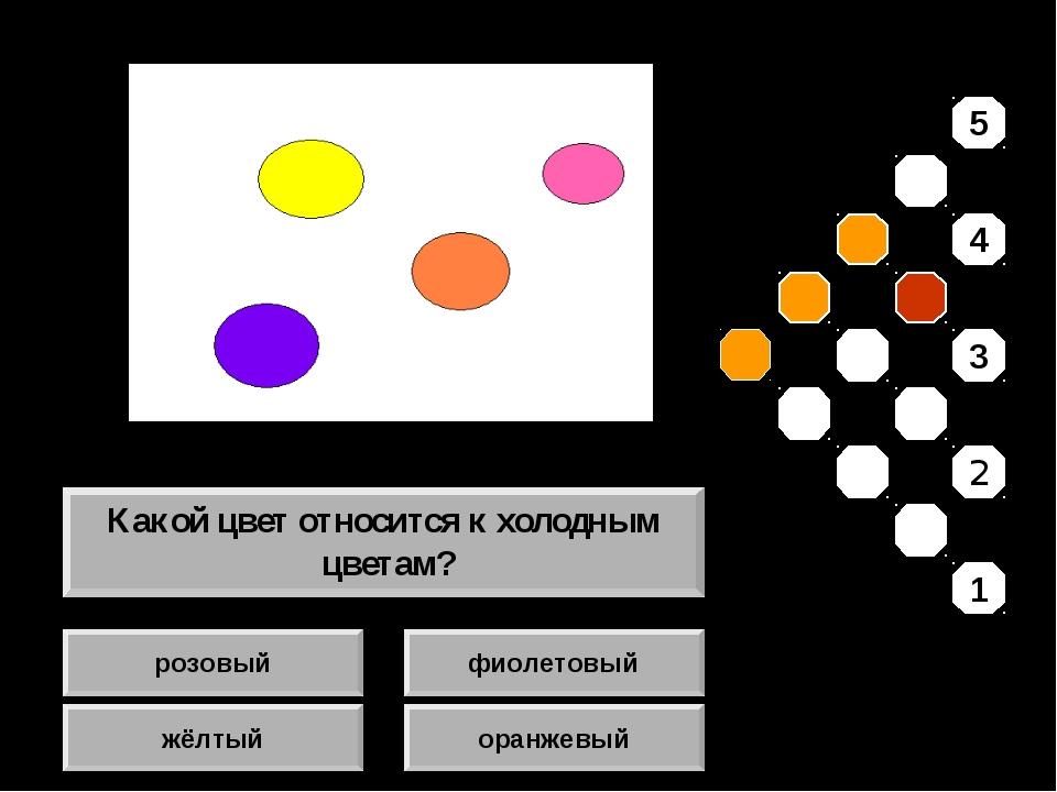 розовый жёлтый фиолетовый оранжевый Какой цвет относится к холодным цветам? 5...