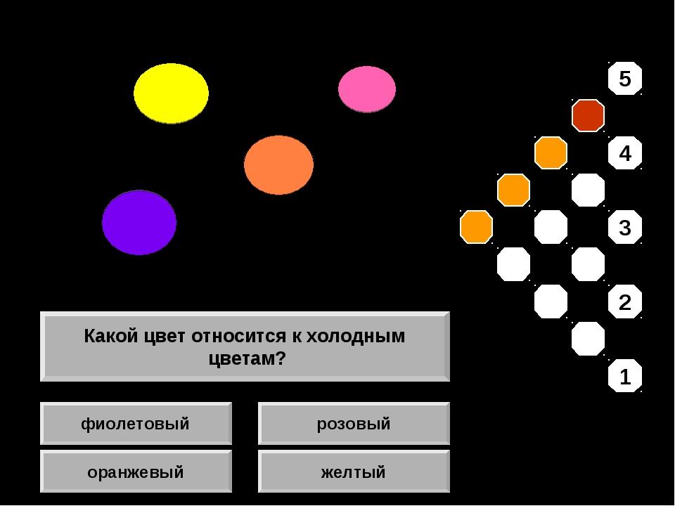 фиолетовый оранжевый розовый желтый Какой цвет относится к холодным цветам? 5...
