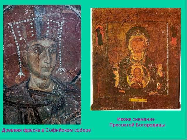 Древняя фреска в Софийском соборе Икона знамение Пресвятой Богородицы