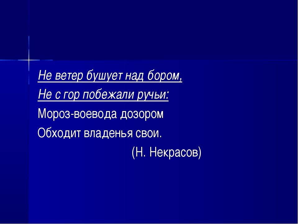Не ветер бушует над бором, Не с гор побежали ручьи: Мороз-воевода дозором Обх...