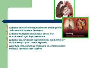 Курение способствует развитию инфекционных заболеваний органов дыхания. Курен