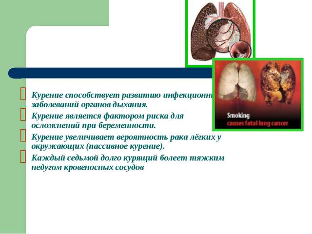 Курение способствует развитию инфекционных заболеваний органов дыхания. Курен...