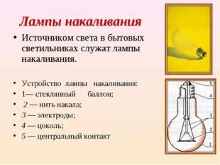 Лампы накаливания Источником света в бытовых светильниках служат лампы накали