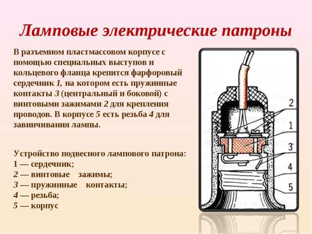 Ламповые электрические патроны В разъемном пластмассовом корпусе с помощью сп...