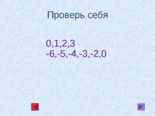 Проверь себя 0,1,2,3 -6,-5,-4,-3,-2,0