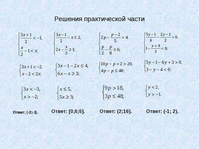 Решения практической части Ответ: (-2;-1). Ответ: (2;16]. Ответ: [0,6;5]. Отв...