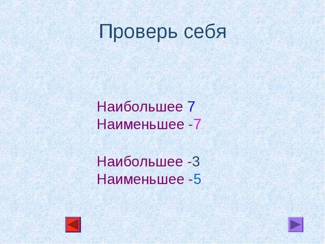 Проверь себя Наибольшее 7 Наименьшее -7 Наибольшее -3 Наименьшее -5
