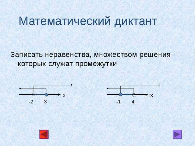 Математический диктант Записать неравенства, множеством решения которых служа...