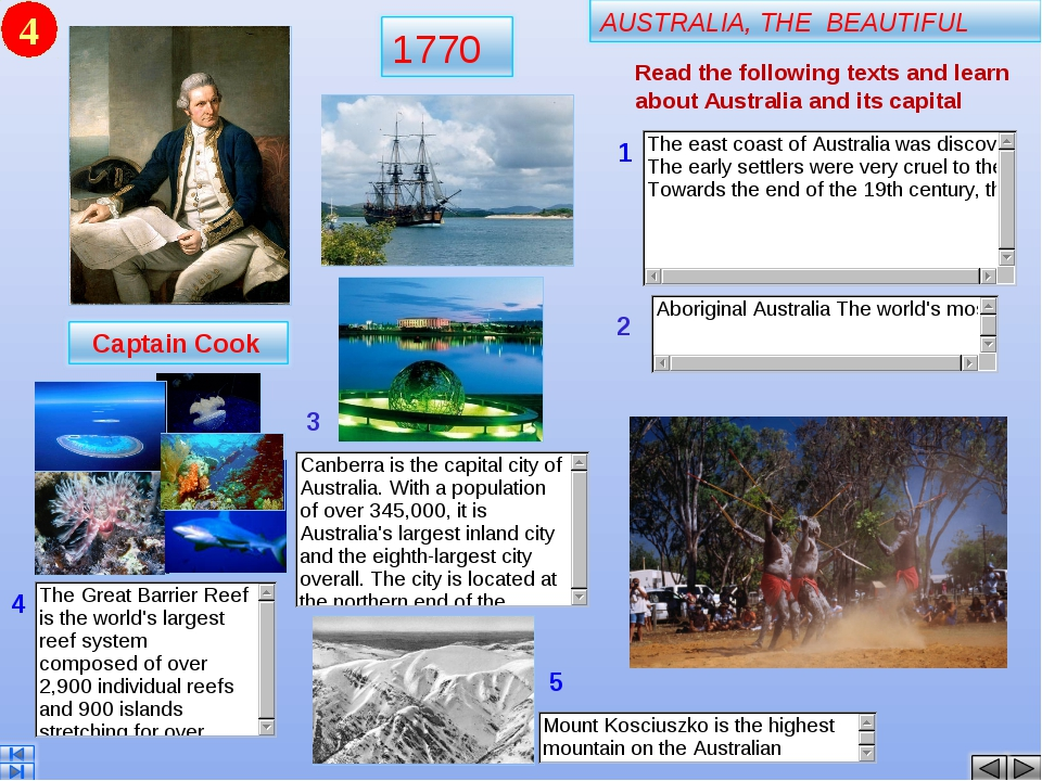 4 Read the following texts and learn about Australia and its capital 1 2 3 4 5